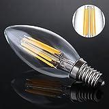 Luohaoshi 4 X Dimmbar 6W Kerzenlampe e14 LED, C35 LED Kerzenform Filament, Ersatz 60W Glühlampe, Warmweiß (2700K), 600lm - 4