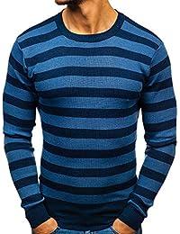 5e5d4556376b BOLF Herrenpullover Pulli Sweatshirt Strickjacke Sweater mit  Rundhalsausschnitt gestreifter 5E5 MIX