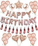 Oro Rosa Palloncini Compleanno HAPPY BIRTHDAY Banner Bandiera Compleanno Striscione Stella Cuore Lettera Stagnola Lattice Trasparente Confetti Battesimo Metallizzato Tinsel Foil Frangia Palloncino Kit
