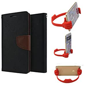 Aart Fancy Diary Card Wallet Flip Case Back Cover For Samsung S6 - (Blackbrown) + Flexible Portable Mount Cradle Thumb Ok Stand Holder By Aart store