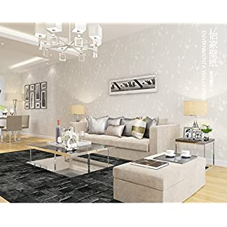 MultiKing Papel pintado Acogedora y romántica habitación de matrimonio dormitorio pequeño papel tapiz no tejidas frescas hojas verdes salón Tv fondo, blanco