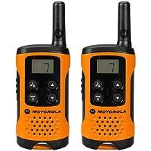 Motorola TLKR T41 - Walkie-Talkie (pantalla LCD, alcance hasta 4 km), color naranja y negro