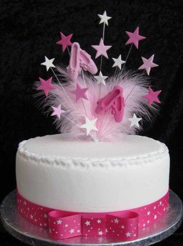 Karen's Cake Toppers Décoration de gâteau d'anniversaire de Ballet avec plumes marabout Idéal pour un gâteau de 20 cm + 1 x m 25 mm Rose Vif Star Ruban gros-grain avec nœud