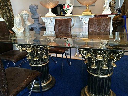 Medusa Tisch Glastisch Esstisch mäander Barock Säulen Wohntisch 6036 K110+50