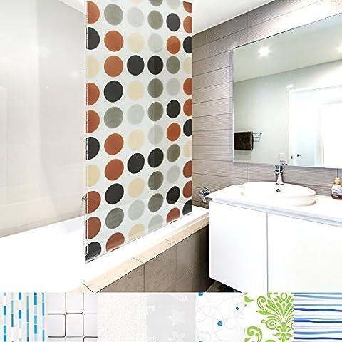 Modernes Duschrollo Round mit Kassette | schnelltrocknendes Rollo für Dusche und Badewanne | bis zu 240 cm Länge ausziehbar | zahlreiche Breiten wählbar (Breite 100 cm)