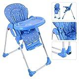 Kinderhochstuhl Hochstuhl Babystuhl Babyhochstuhl Kinderstuhl Treppenhochstuhl Kindertreppenhochstuhl höhenverstellbar klappbar (blau)