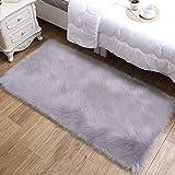 aice Home Deluxe Super morbido finta pelliccia d' agnello in finta pelle di pecora tappeto per camera da letto divano del pavimento, stuhlabdeckung Sedile Cuscino, 60x 90cm Grau