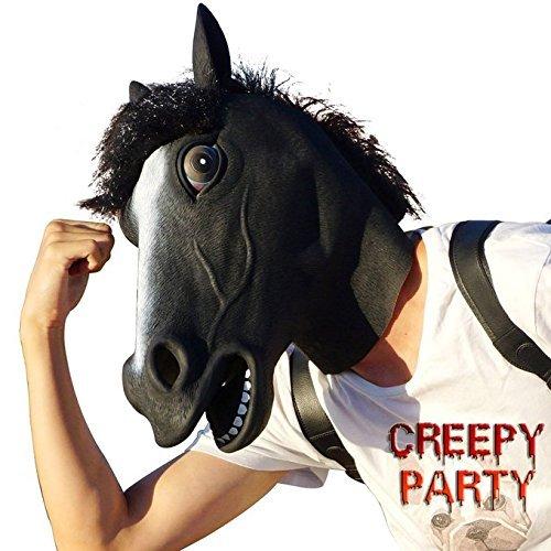 CreepyParty Deluxe Neuheit-Halloween-Kostüm-Party-Latex-Tierkopf-Schablone Masken (Kostüme Lustige Pferdekopf)