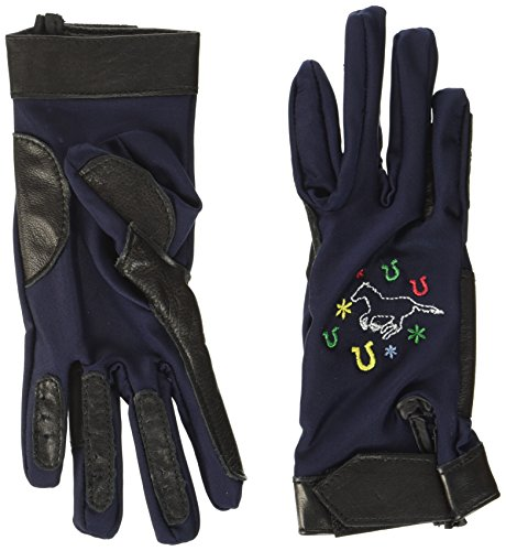 HKM PRO TEAM Kinder Reithandschuhe Galoppierendes Pferd Handschuhe, Dunkelblau, 8