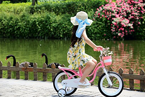 R BABY LITTLE SWAN PINK GIRL'S BIKES IN SIZE 18″+ Adjustable removable stabilisers+bell. (littleswan-18″)