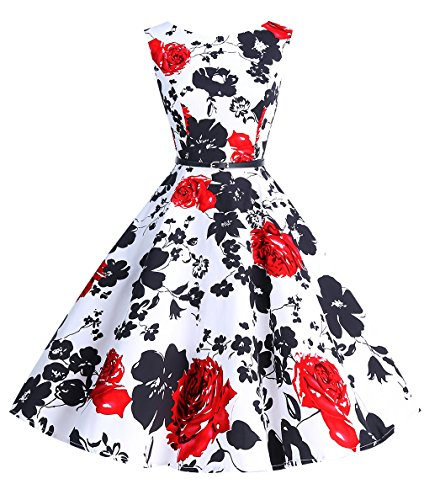 Bbonlinedress 50s Retro Schwingen Vintage Rockabilly kleid Faltenrock RedFlower (60er Frauen)