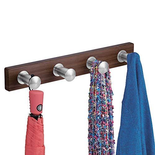 mDesign Hakenleiste zur Wandmontage - Wandgarderobe mit 4 Garderobenhaken aus Edelstahl - zur Aufbewahrung von Mänteln, Jacken, Schals, Handtüchern - Farbe: Dunkelbraun (Espresso) -