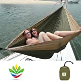 Hammock Bliss Double - Extra Large Portable Hammock - Ideal For Camping, Backpacking, Kayaking & Travel - Suspension System Included