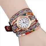 Relojes para mujer, KanLin1986 mujeres de cuero largo pulsera banda de liquidación analógico movimiento de cuarzo reloj de pulsera (rojo)