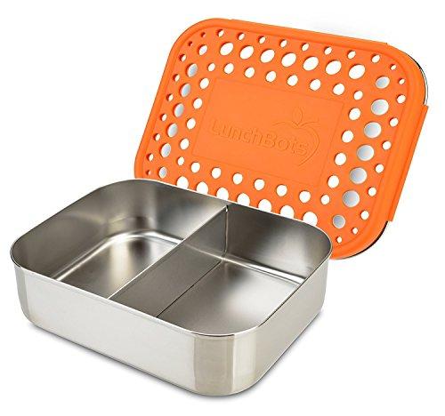 LunchBots Duo Récipient alimentaire en acier inox – Conception à 2 compartiments, parfaite pour un demi sandwich et un accompagnement ou pour des en-cas – Écoresponsable, compatible avec le lave-vaisselle et sans BPA - Orange