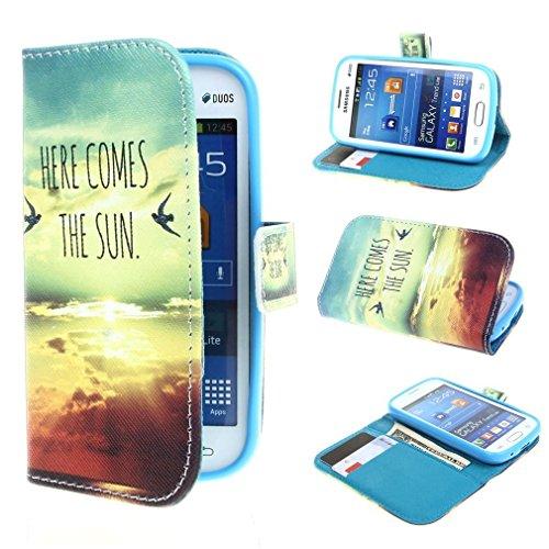 Mode Sky And Weiß Clouds Printed Magnetisch Style Beutel PU Leder Stehen Stehen Tasche Hülle Schale Schutzhülle Case Cover für Samsung Galaxy Trend Lite S7392 / S7390