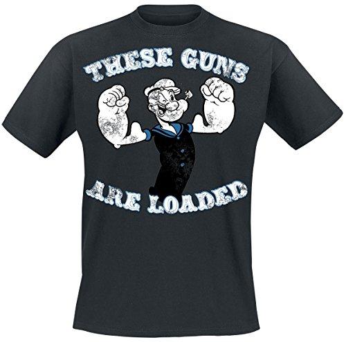 (Popeye The Guns Are Loaded T-Shirt dunkelgrau L)