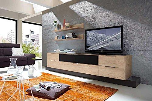 6-tlg Wohnwand in Eiche Nb./grau mit Akustik-Fächern, Gesamtmaß B/H/T ca. 300/160/51 cm