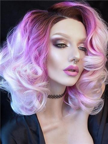 Imstyle mujeres corto cuerpo ondulado púrpura peluca