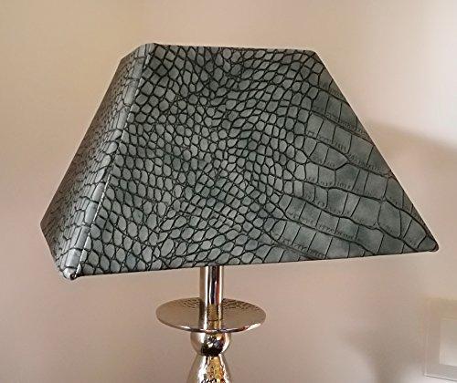 Designer-Lampenschirm- Kaiman-Optik-Kunstleder rechteckig konische Form Grau