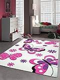 Traum Kinderteppich Spielteppich Schmetterling Design Weiss Pink Lila Größe 120x170 cm