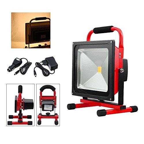 VINGO® 50W LED Strahler Rot Arbeitsleuchte Baustrahler Akku IP65 Fluter Handlampe Warmweiß [Energieklasse A++]