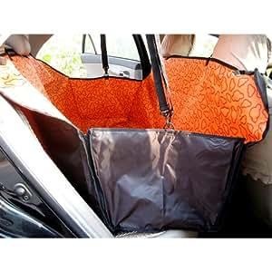 Fuloon Coprisedile Amaca Copertura Coperta Blanket Seat Cover Mat Hammock Sedile Posteriore Automobile per Cane Animali Domestici Pet Viaggio Sicurezza Impermeabile Universale (Arancione)