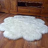 Simulation Schaffell Teppich Lange Wolle Sofa Teppich Matte Zum Schlafzimmer Nachttisch Wohnzimmer Kaffetisch Kinderzimmer Dekoration (Pflaumenblüte Muster),White-diameter180cm
