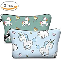 Yansion 3D Printing Cartoon 2 pezzi Unicorn Makeup Bag Organizer Wash Wash impermeabile Bella Unicorn Pencil Case per moda Donna Girls And Students Viaggio Cosmetic case con Zipper