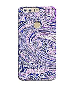 PrintVisa Designer Back Case Cover for Huawei Honor 8 (Vector Print Pattern Design Illustrations Beautiful Blue)