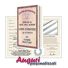 Idea Regalo - Bombo Biglietto Auguri Matrimonio Carta d'identità Futuro Marito