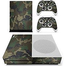 Pandaren completos placas frontales adhesivo Pegatinas para la consola Xbox One S y controlador x 2 (Camuflaje verde oscuro)[Instrucción en las listas de imágenes]
