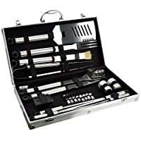 Jazooli Large 21pcs Piece BBQ Barbeque Stainless Steel Cutlery Cooking Tool Set Kit Case