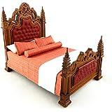 Melody Jane Casa De Muñecas 19th Siglo Gótico Nogal Cama Con Paneles Miniatura Muebles De Dormitorio