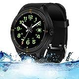 Lu Smartwatch Wrist Watch IP67 Waterproof IPS Full Shijiao Touch Screen Heart Rate Monitor Support 3G Internet Access GPS Navigation and Positionierung,Black
