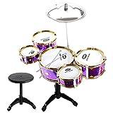 Baoblaze Kinder Musik Instrumente Spielzeug - Mini Jazz Trommel 5 Schlagzeug mit Hocker Schlaginstrument Set - Lila