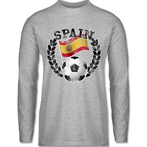 Shirtracer Fußball-WM 2018 - Russland - Spain Flagge & Fußball Vintage - Herren Langarmshirt Grau Meliert
