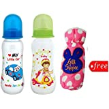 Gilli Shopee Bottle Cover Free With Mee Mee Premium Baby Feeding Bottle, 250ml Pack Of 2 (Blue & Green)