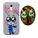 Himantra Protective Transparent Soft Silicone 3D Cute Radium Sticker Night Glow Bunny back case & cover For Xiaomi mi RedmiI Note 3