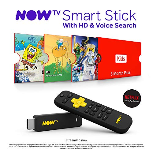 NOW TV Smart Stick with HD   Voice Search with 3 Month Sky Kids Pass