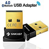 SIMCAST - Bluetooth 4.0 USB Adapter | neuester Standard Version 4.0 Technologie | Plug & Play | Kompatibel mit Windows 10/8.1/8/7/Vista/XP32/64 Bit für Desktop Laptop, Computer