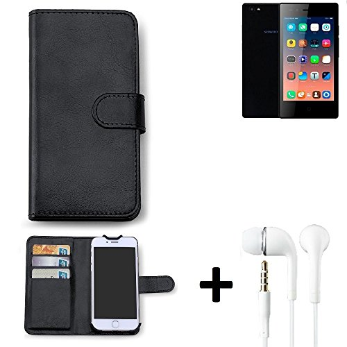K-S-Trade Hülle für Siswoo A5 Schutz Wallet Case Walletcase schwarz Handytasche Klapphülle inkl. Kopfhörer in Ear Headphones