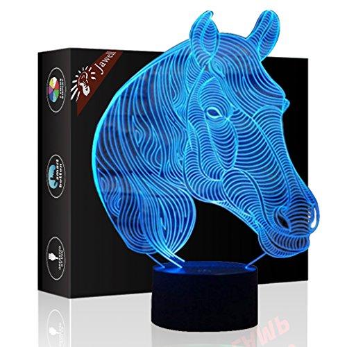 Pferd Geschenk Nachtlicht 3D neben Tischlampe Illusion, Jawell 7 Farben ändern Touch Switch Schreibtisch Dekoration Lampen Geburtstag Weihnachtsgeschenk mit Acryl Flat & ABS Base & USB Kabel (Ändern Wand Sie Schalter Licht)