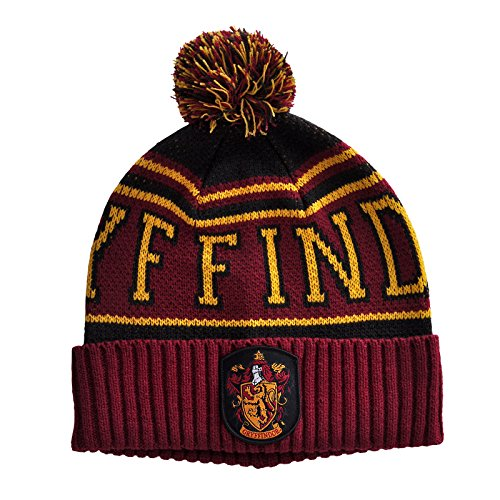 Harry Potter - Bonnet emblèmes Gryffondor avec pompon - Rouge - Elbenwald