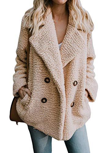 ORANDESIGNE Damen Mantel Teddy Plüschjacke Revers Oversize Plüschjacke Winterjacke Kurz Coat Parka Outwear Mit Tasche
