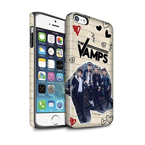 Officiel The Vamps Coque / Matte Robuste Antichoc Etui pour Apple iPhone SE / Pack 5Pcs Design / The Vamps Livre Doodle Collection Stylo Noir