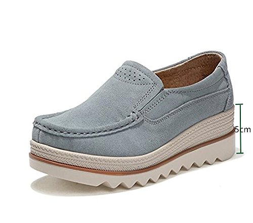 Women Ladies Loafer Flats Platform Shoes Slip on Suede Moccasins Summer Low top Wedge Sneakers 5cm Black Blue Gray UK2.5-8 Grey 39