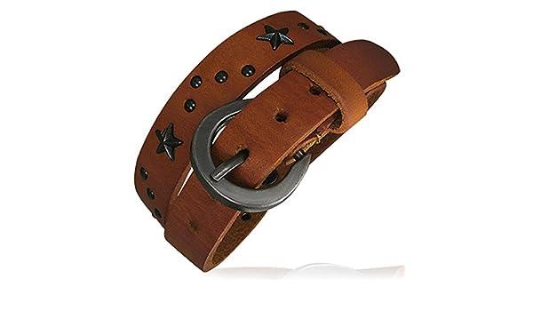 ZENSE Bracelet Homme Ajustable en Cuir Marron Clair Double Tour avec Clous /étoile en Acier et Boucle de Ceinture ZB0120