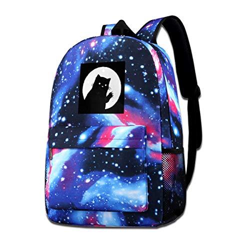 Galaxy bedruckte Schultertasche Meow Cat Moon Silhouette Fashion Casual Star Sky Rucksack für Jungen & Mädchen -