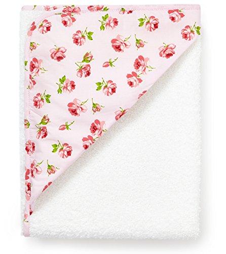 Große Kapuzentuch weiß mit rosa Rosen, 100x 100cm